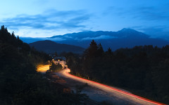 The Blur I (Dejan Hudoletnjak) Tags: landscape lakebled trainstation light trails bluehour blue longexposure night hour