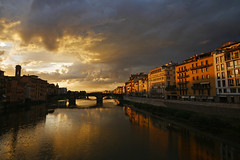 Ponte Santa Trinita (terri-t) Tags: ponte santa trinita bridge arno florence firenze river sunset vecchio italy landscape reflection colorful silhouettes water architecture outdoor sky clouds city cityscape
