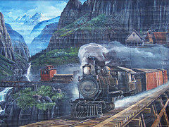 Railroad Mural, Arlington, Washington (teresue) Tags: 2016 wa washington arlington pacificnorthwest publicart mural railroad engine mountains trestle caboose