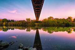 Under the Bridge (boingyman.) Tags: bridge sunset seascape reflection canon landscape golden gate scape 1022 pedestrianbridge americanriver guywestbridge t2i boingyman