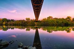 Under the Bridge (boingyman.) Tags: bridge sunset seascape reflection canon landscape golden gate scape 1022 pedestrianbridge americanriver guywestbridge t2i boingyman