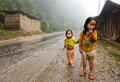 Along the Mountain Road (Trouvaille Blue) Tags: road travel mist mountain rain sisters asia southeastasia village laos luangprabang hmong trouvailleblue mygearandme soiledclothes
