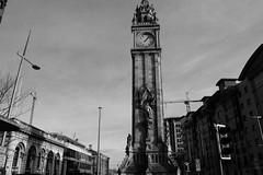 Albert Clock Tower (avalard) Tags: white black architecture landscape evening daylight cityscape belfast customhouse oddmanout eastbelfast albertclocktower