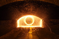 Light at the end of the tunnel (blacksplat) Tags: light art wool canon painting wire long exposure steel tunnel spinning sparks