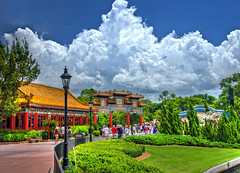 Clouds Over China (Allen Castillo) Tags: clouds orlando epcot nikon florida disney wdw waltdisneyworld themepark worldshowcase chinapavilion d7000