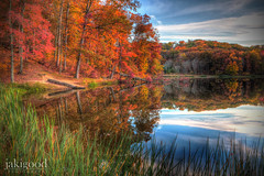 dressed in Autumn (jaki good miller) Tags: autumn lake nature reflections colorful fallcolor bluesky autumnscene southernohio stewartlake sciototrails rosscountyohio autumnreflections jakigoodphotography