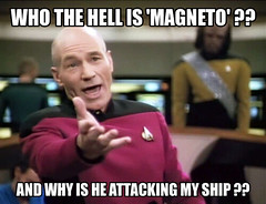 "ATTACHMENTALS- STAR TREK: THE ""X"" GENERATION (zero g) Tags: bridge startrek meme robjan captainpicard magneto zerog robertjan patrickstewart jeanlucpicard"