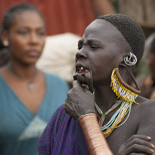 Suri Tribe Woman With Enlarged Earlobe And Scarifications At A Ceremony Organized By The Government, Kibish, Omo Valley, Ethiopia