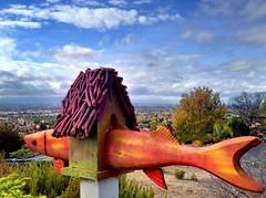 Birdhouse over San Jose (Ba®ky) Tags: california house fish birds clouds sticks sanjose birdhouse yardart