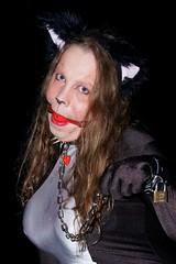 DSC01383_DxOa800 (Shiny Pet) Tags: fetish cat ball chains makeup ears gag collar spandex catsuit petplay