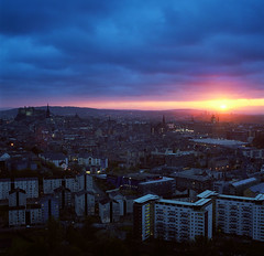 Be there for every day's end (Zeb Andrews) Tags: city uk blue sunset urban color film analog square scotland twilight edinburgh cityscape hasselblad arthursseat oldworld salisburycrags hasselblad500c bluemooncamera
