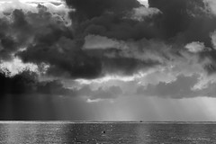Fifty shades of grey (pic fix) Tags: uk sky blackandwhite cloud storm water monochrome beautiful skyline clouds landscape seaside view stormy scene monotone sunrays beams sunbeams 2012 canonphotography scenicsnotjustlandscapes ysplixblack
