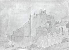 Old Drawings - Castle on the cliff - 1988 (Gareth Wonfor (TempusVolat)) Tags: castle cliff rough sea waves storm gareth mrmorodo tempusvolat tempus volat scanning scan scanner scanned art drawing sketch artwork epson perfection v200 pencil fort fortress stone wall walls defenses scans photoscanner epsonperfection garethwonfor mr morodo wonfor