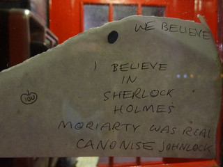 # In Sherlock We Trust: IOU - We believe - I believe in Sherlock Holmes - Moriarty was real / Canonise Johnlock