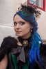 "7D0012a Beautiful Lady with Blue Hair - Whitby Goth Weekend 3rd Nov 2012 (gemini2546) Tags: nov green lace trimmed goth week 3rd 2470 ""blue ""canon ""sigma hair"" ""beautiful 7d"" lens"" lady"" hat"" ""fur ""whitby bodice"" 2012"" 'victorian' choker"" stole"" ""pendent"