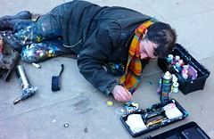 Ben Wilson aka 'Chewing gum man' at work (hethelred) Tags: leica art gum graffiti artist ben outsider pavement piccadilly bubble wilson alternative m9 chewinggumman