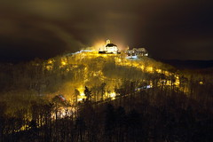 Wartburg Castle on fire *in Eisenach Thuringia Germany 2012* (tobfl) Tags: world winter light cold cars car fog night canon germany weihnachten deutschland fire eos lights thringen nikon europa europe long day foto shot time shots earth no foggy picture weihnachtsmarkt thuringia bach burning burn christmasfair brennen brennt opel luther onfire wartburg eisenach iphone 60d