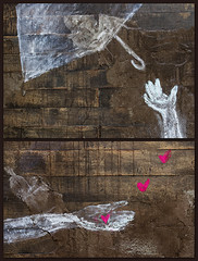 let go, let love (MyArtistSoul) Tags: ca street white art silhouette rose umbrella hearts losangeles diptych downtown petal 1126 artsdistrict 70200mmf4 zeni onwood