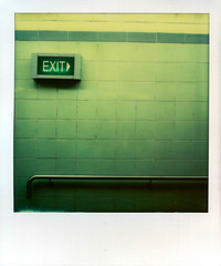 Exit (Seriously People) Tags: newzealand colour polaroid sx70 instant analogue exit px70 impossibleproject jonobissex