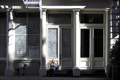 ... in the sun (Dreamer7112) Tags: nyc newyorkcity windows people white ny newyork window sitting manhattan soho streetphotography blond blonde shadowplay 80 sittin greenestreet acrossthestreet inthesun spaceforlease