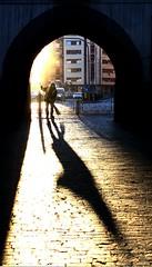 Per la città pulita (meghimeg) Tags: shadow sun arch ombra sole arco broom 2012 streetsweeper spazzino scopa cairomontenotte