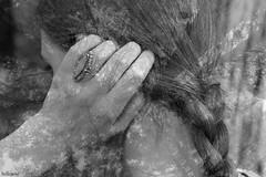 altered reality (bellejune) Tags: blackandwhite bw hair doubleexposure overlay ring braid 52weeks cincuentaydos bellejune