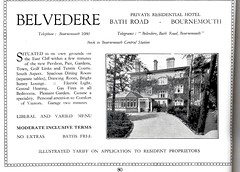 BELVEDERE HOTEL. 14 BATH RD. BOURNEMOUTH. DORSET. 1931 (BOURNEMOUTH GRANT TOO) Tags: road uk england tourism 1931 hotel hall bath dorset belvedere guide bournemouth rd bathroad bathrd belvederehotel belvederehallhotel
