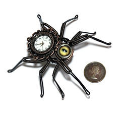 New Steampunk Neo Victorian Spider Lapel pin Sculpture with Working Watch and Taxidermy Glass Eye (Catherinette Rings Steampunk) Tags: eye fashion metal insect spider pin handmade watch jewelry jewellery etsy steampunk