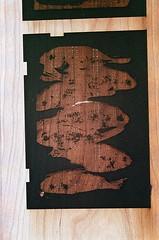 08950001-16 (jjldickinson) Tags: wood red print cherry parkinggarage carving longbeach card printmaking olympusom1 woodblock fujicolorsuperiaxtra400 mokuhanga laserengraving promastermcautozoommacro2870mmf2842 promasterspectrum772mmuv kilroyairportcenter roll395
