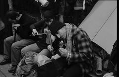 001-006 (Ari and the bear) Tags: street bw film analog montreal canona1 kentmere400 occuponsmontreal occupymontreal arianedepalacio