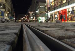 Linz (austrianpsycho) Tags: abend austria gleise oberösterreich österreich rails stadt street upperaustria boden city dark dunkel dunkelheit landstrase lichter lights linz nacht schienen strasenbahn