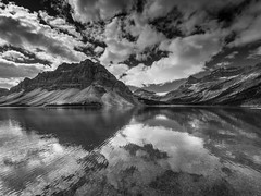 bow lake reflection (solidified_images) Tags: mountains olympusep5 olympus blackandwhite alberta bnw lake canada explore