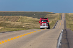 Red Truck on a Long Road, South Dakota (vambo25) Tags: southdakota hwy14 highway14