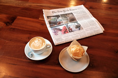 Great Breakfast / Bad News (-Dons) Tags: austin patikacoffee texas unitedstates coffee coffeehouses latteart newspaper muffin cappuccino table patika