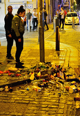 Oops Sorry ! (tcees) Tags: glass carton bottles brokenbottles smoking cobblestones street night nighttime bollards woodstreet liverpool
