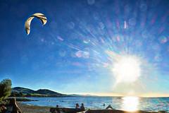 Kitesurfer (macplatti) Tags: hchst vorarlberg austria aut sunset sundown kite surfing color colormania kitesurfing summer frenzy evening sonnenuntergang rheindelta rohrspitz salzmann sports water blue blau yellow green hot cool digitalart digitalpainting