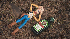 Woody's Ethylic Love Story - 7/8 (Reiterlied) Tags: 105mm alcohol alcoholism bergen d5200 dslr jagermeister lens macro nikon norway photography prime reiterlied sigma stuckinplastic toy toystory woody