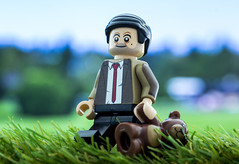 Mr Bean and Teddy (jezbags) Tags: mrbean bean mr walk stroll lego macro macrophotography macrodreams macrolego grass green blue white canon60d canon 60d 100mm closeup