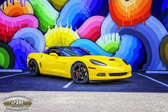 Monicas Corvette with Rainbow Snake Wall in HDR copy (RoryMad Studios) Tags: hdr corvette chevrolet yellow murals shineproject shine stpetersburg florida