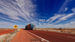 Road Train (jrazarcon) Tags: nikond810 afs nikkor 1424mm f28g ed john azarcon jrazarcon landscape lightroom southaustralia roadtrain outback kangaroosign signage red nowhere transport clouds outdoor desert mountwilloughby australia au sa blue sky