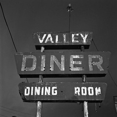 Valley Diner (robert schneider (rolopix)) Tags: blackandwhite bw abandoned 120 6x6 film monochrome sign rolleiflex mediumformat square restaurant virginia closed va roadside expired outofbusiness outdated outofdate 28f verichromepan verichrome koday 120620 robertschneider tomsbrook autaut steelsign valleydiner formerlyneon bwfp believeinfilm rolopix