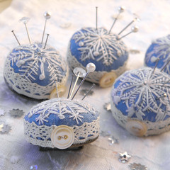 Embroidered Snowflake Pincushion Brooches (Wychbury Designs) Tags: snowflake christmas uk blue winter white snow star miniature lace brooch sew pins needle button pincushion stitched embroidered folksy wychbury