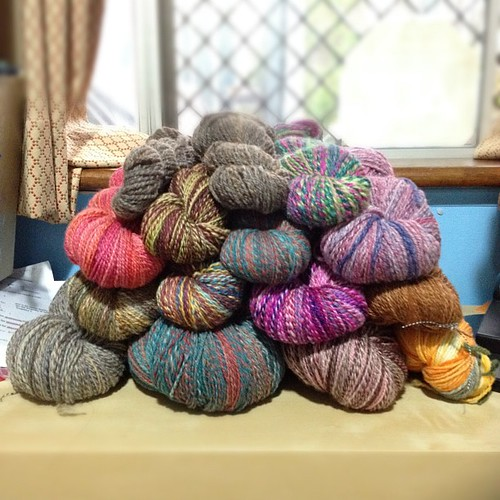 This is all the finished yarn I spun in this year