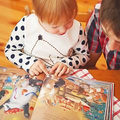 christmas reads (lomokitty) Tags: santa christmas portrait berlin kids germany weihnachten children book child father daughter portfolio job client friedrichshain 2012 readin december2012 5dmarkii 5d2
