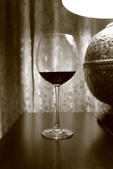 Wine glass (Johannes ;-)) Tags: lamp sepia wine shades oldphoto wineglass depth woodtable