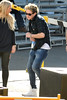 Niall Horan seen dancing. One Direction seen having lunch and exchange gifts outside the CBS Studios, before the taping of the 'X Factor' finale. Los Angeles, California- 20.12.12 JP