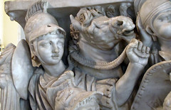 Ludovisi Battle Sarcophagus, detail with horse lead by reins