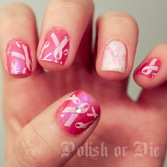 Breast Cancer Awareness nails (polishordie) Tags: art pretty nail polish nails stamping manicure nailart enamel manicures konad stampingnailart polishordie