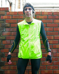 Went for a run this morning.  It was a bit wet... (John In Pink) Tags: me wet rain yellow self skins crane mp3 nike sp headphones specsavers soggy lycra aldi leggings christmasday 2012 soaked swoosh jvc garmin karrimor hivis miserabletosser