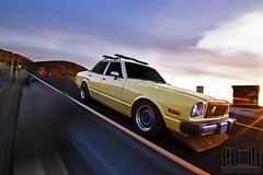 Toyota Cressida Rig (1904 Photography™) Tags: auto sun motion blur car speed guard fast rail automotive rig flare toyota guardrail 1980 sunflare cressida 4door